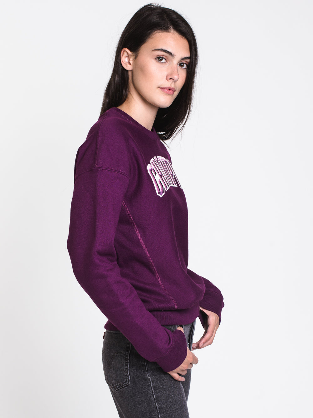 WOMENS BLOCK ARCH APPLQ CREW - PURPLE