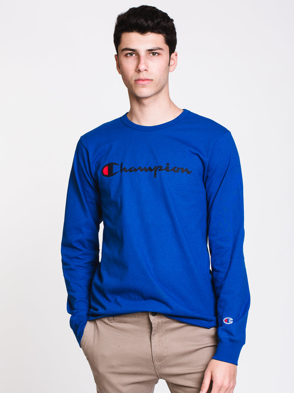 MENS HERITAGE CHEST LONG SLEEVE T-SHIRT - BLUE