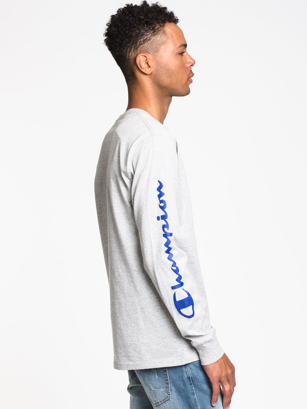 MENS OVER SCRIPT LONG SLEEVE - GRY