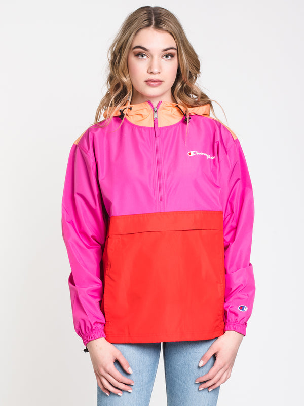 WOMENS PACKABLE COLOURBLOCK JACKET - RED