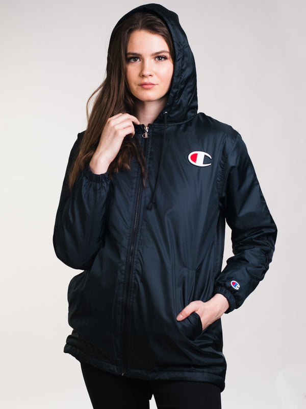 WOMENS COACHES F/Z JACKET - BLACK