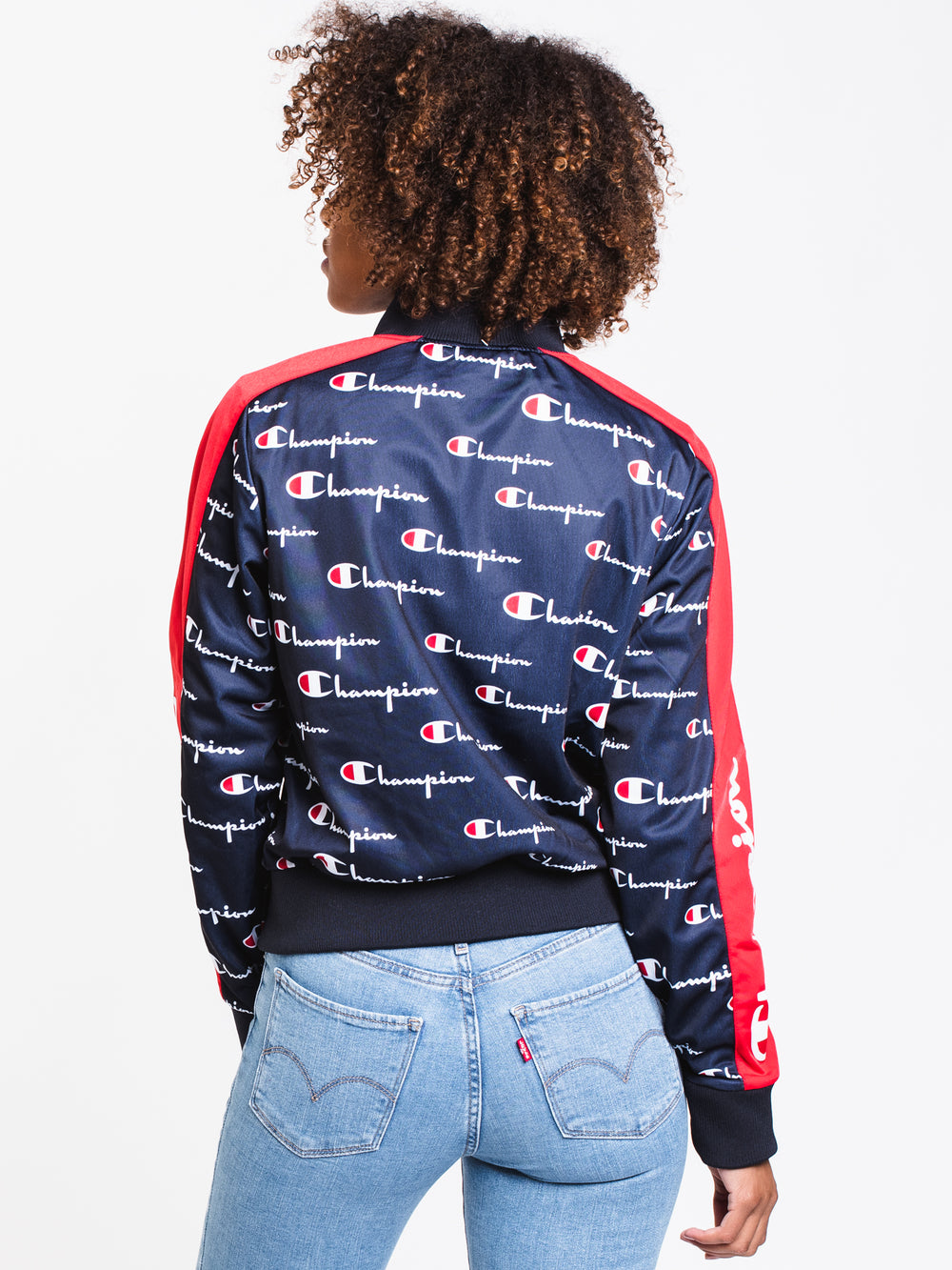 WOMENS ALL OVER PRINT TRICOT TRACK JACKET - NAVY