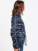 WOMENS ALL OVER PRINT CROP COACHES JACKET - NAVY