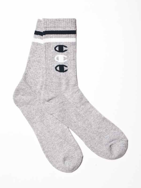 STACKED C LOGO CREWSOCK - GRY
