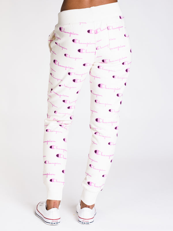 WOMENS ALL OVER PRINT REV WEAVE JOGGER - CHALK