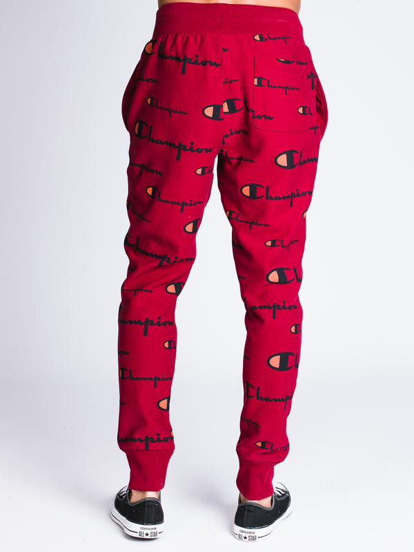 MENS REV WEAVE ALL OVER PRINT JOGGER - CHERRY