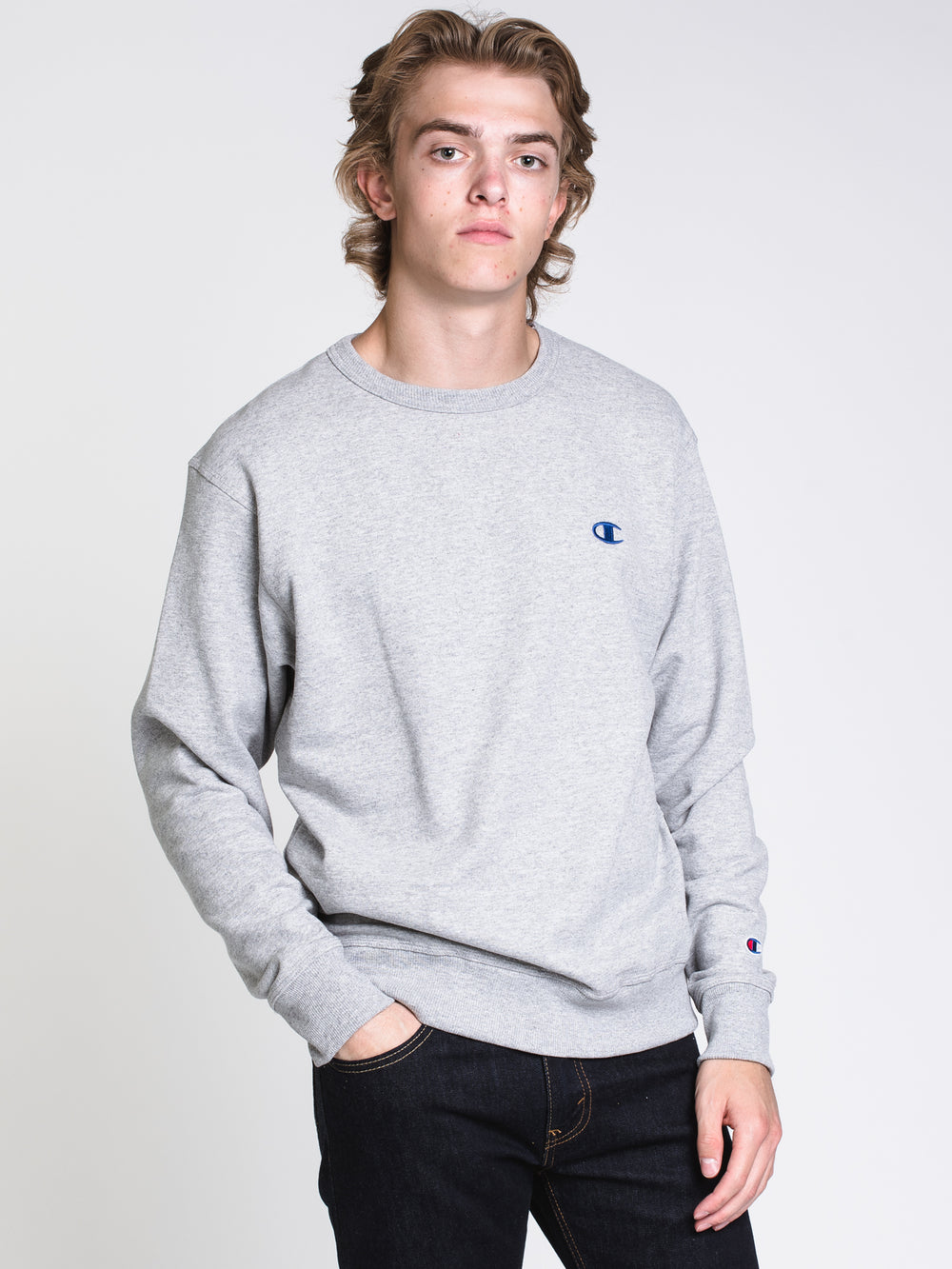 MENS COLOUR POP CREW - GREY/ROYAL