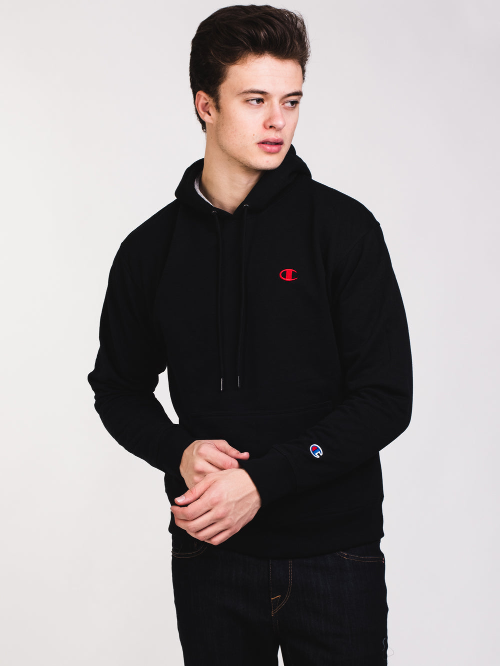 MENS COLOUR POP PULL OVER HOODIE- BLACK