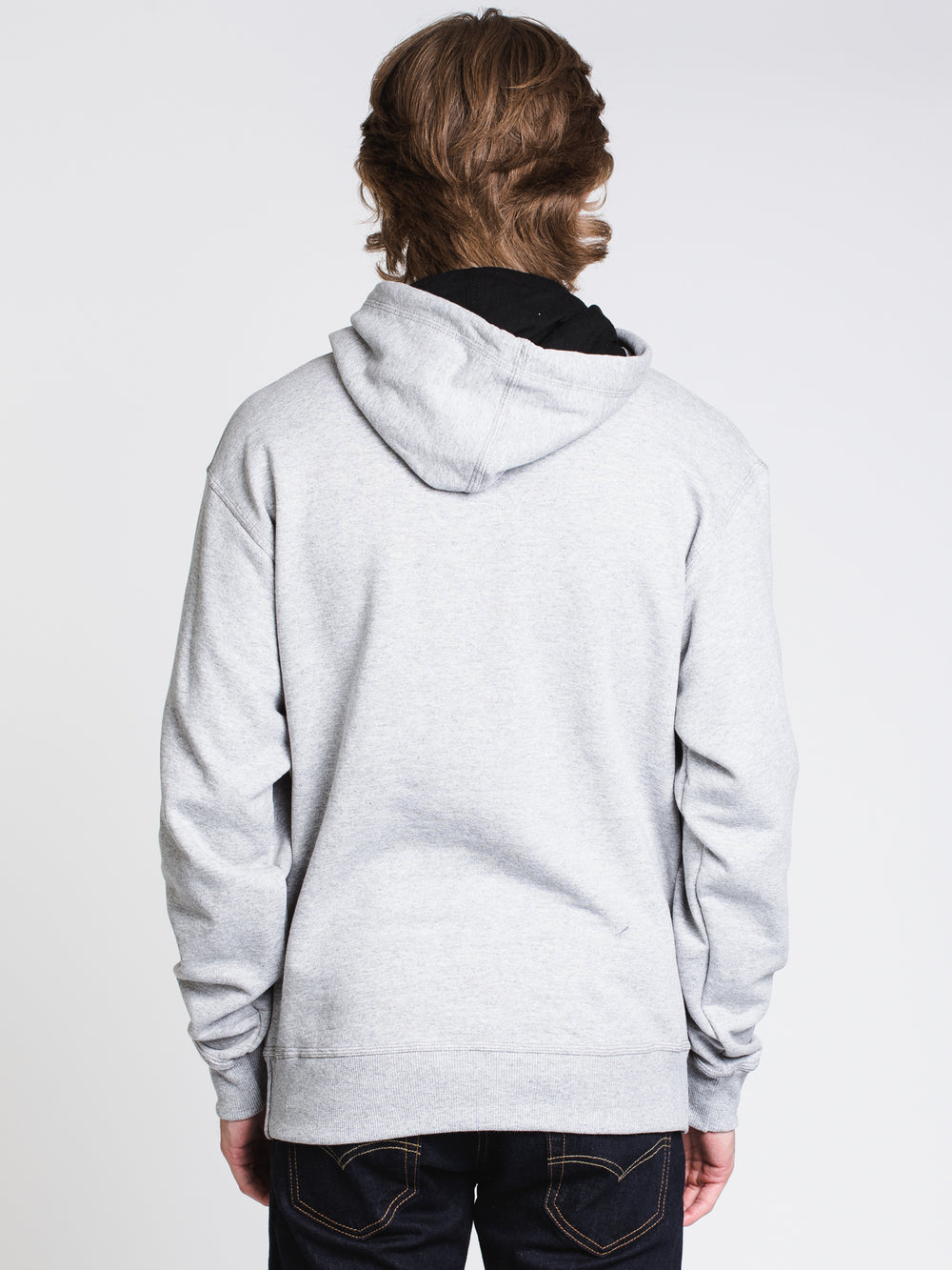 MENS COLOUR POP PULLOVER HOODIE - GREY/ROYAL
