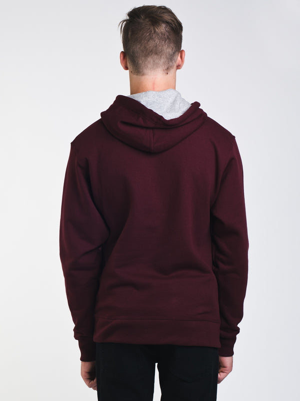MENS COLOUR POP PULL OVER HOODIE- MAROON