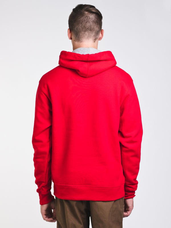 MENS COLOUR POP PULLOVER HOODIE- SCARLET