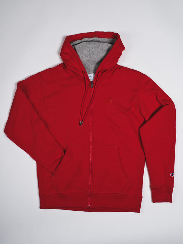 MENS POWERBLEND FULL ZIP HOODIE - RED