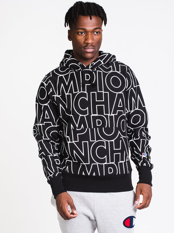 MENS REV WEAVE BLOCK ALL OVER PRINT PULLOVER-BLK
