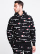 MENS REV WEAVE ALL OVER PRINT PULLOVER HOODIE- BLACK