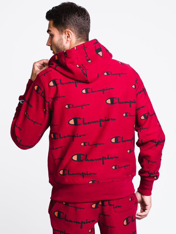 MENS REV WEAVE ALL OVER PRINT PULLOVER HOODIE- CHRRY