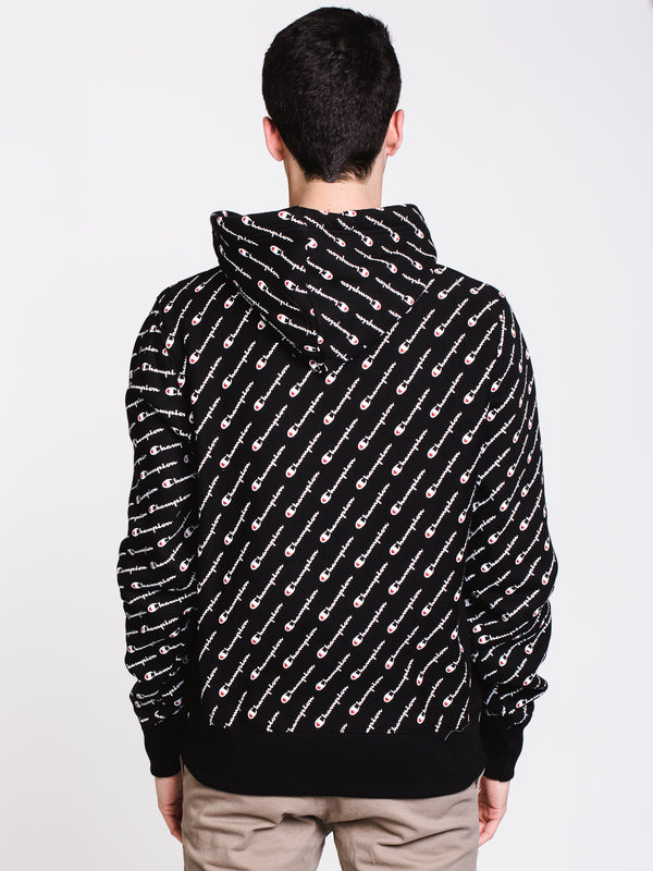 MENS REV PULL OVER ALL OVER PRINT HOODIE- BLACK