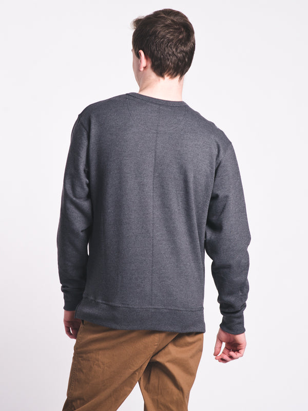MENS POWERBLEND CREW FLEECE - GRANITE