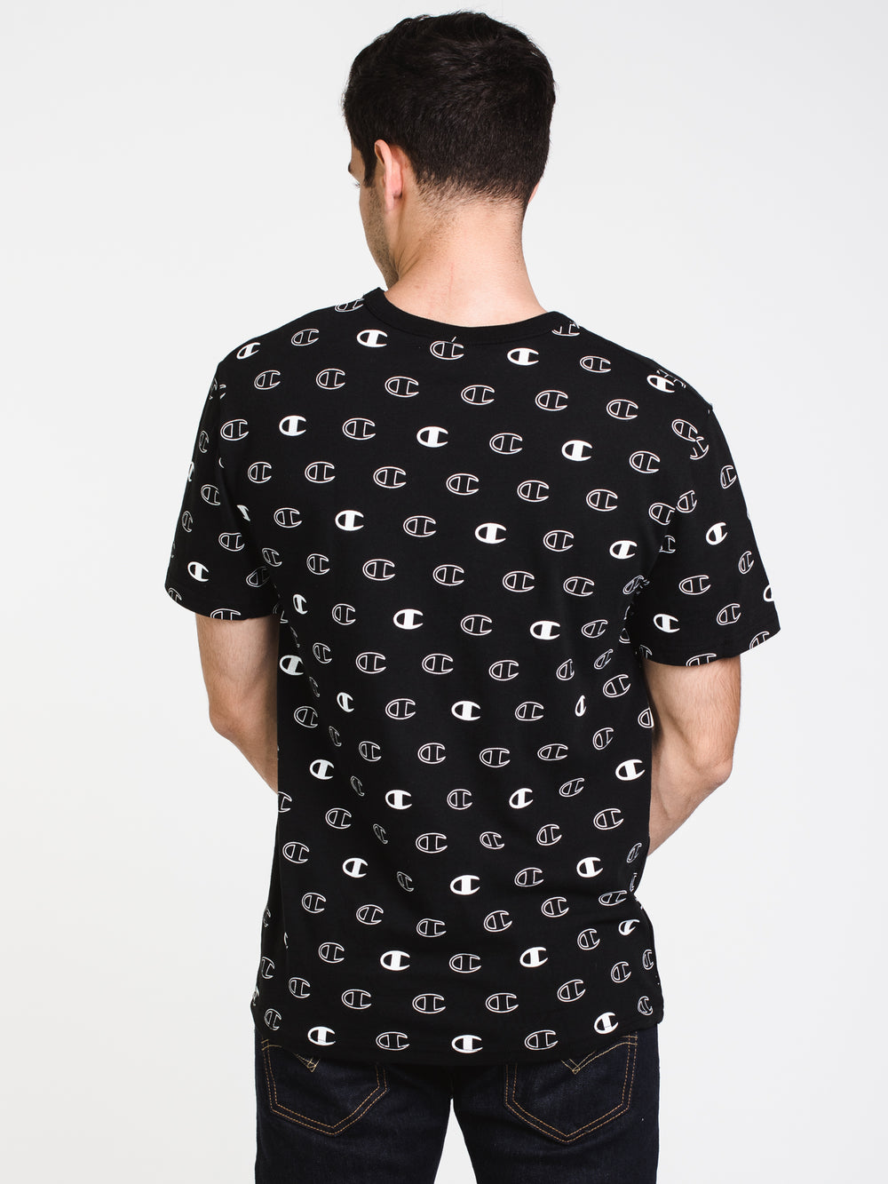 MENS HERITAGE SPACED ALL OVER PRINT SHORT SLEEVE T-BLK