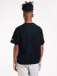 MENS REV WEAVE SHORT SLEEVE CREW FLEECE - BLK