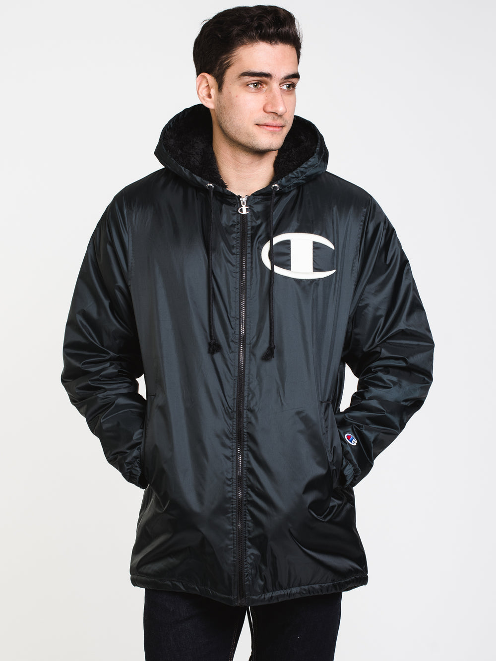 MENS SHERPA LINED STADIUM JACKET - BLK