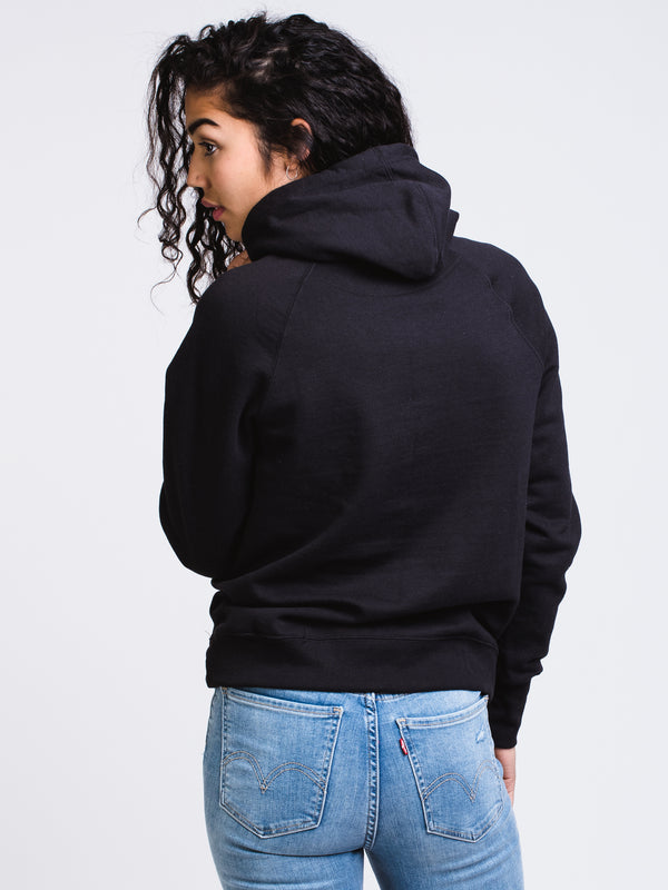 WOMENS APPLIQUE PULLOVER HOODY - BLACK