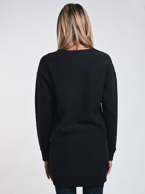 WOMENS OVERSIZED LONG SLEEVE CREW - BLACK