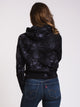 WOMENS SCRUNCH DYE REV WEAVE PULLOVER-BLK