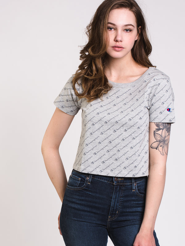 WOMENS ALL OVER PRINT LOGO SCRIPT CROP SHORT SLEEVE T-GRY