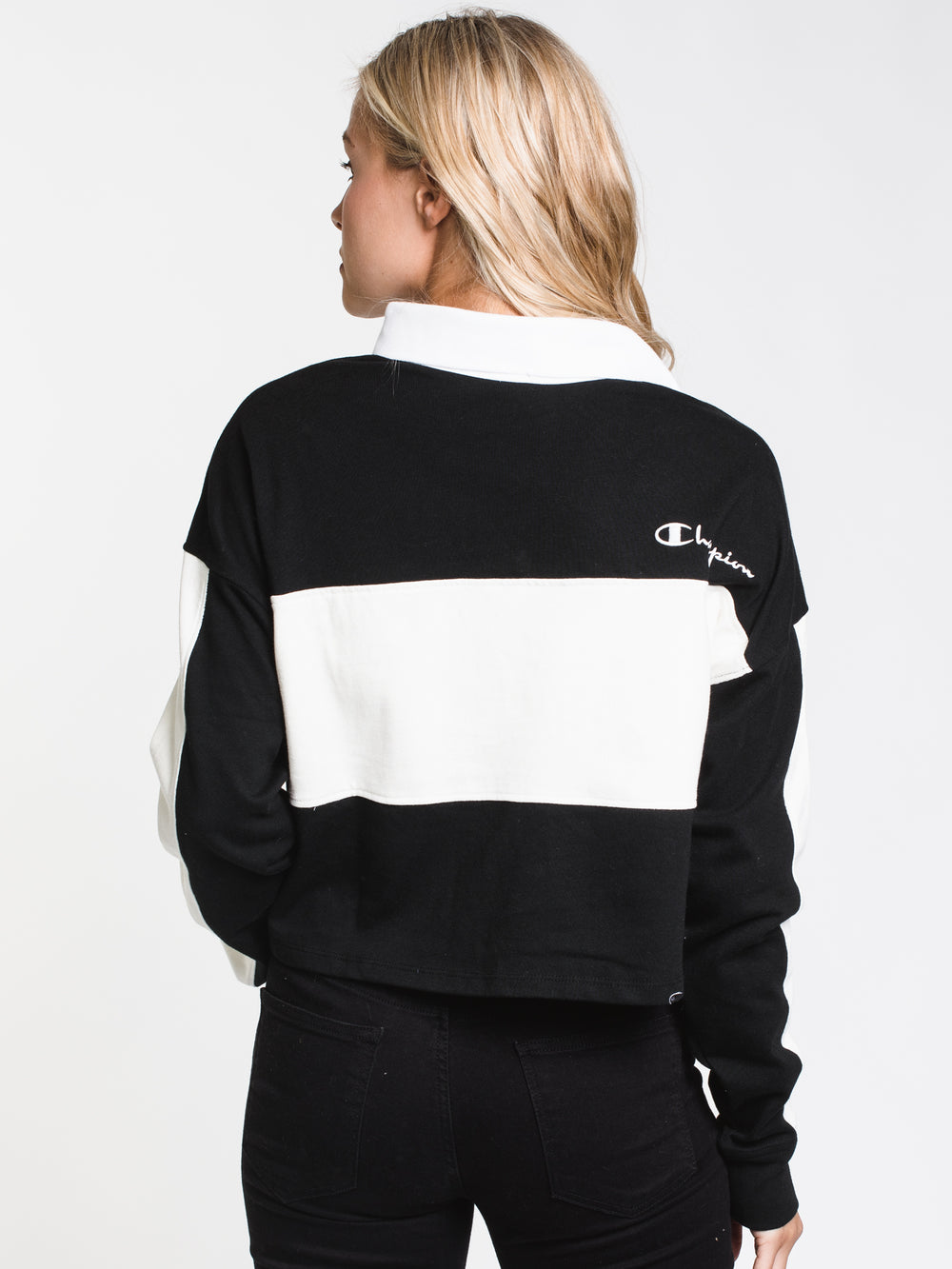 WOMENS RUGBY CROPPED LONG SLEEVE TEE - BLACK