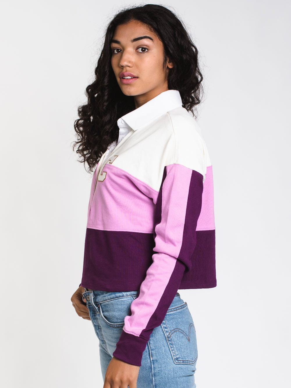WOMENS RUGBY CROPPED LONG SLEEVE TEE - CHALK
