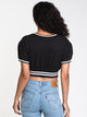 WOMENS VINTAGE FLEECE CROP SHORT SLEEVE CREW-BLK