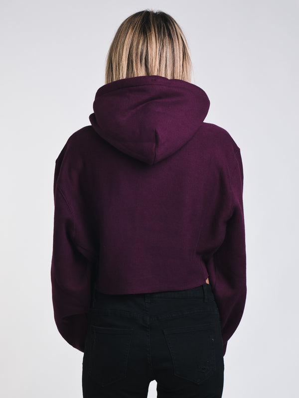 WOMENS CROP CUTOFF PULLOVER HOODY - BERRY