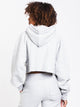 WOMENS OLD ENGLISH CROP PULLOVER HD - GRY