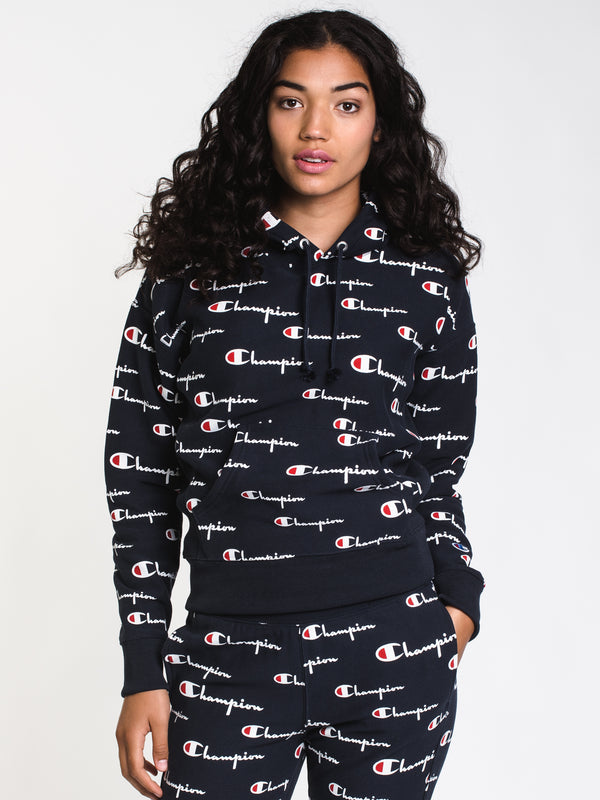 WOMENS REV WEAVE ALL OVER PRINT PULLOVER HOODIE- NAVY