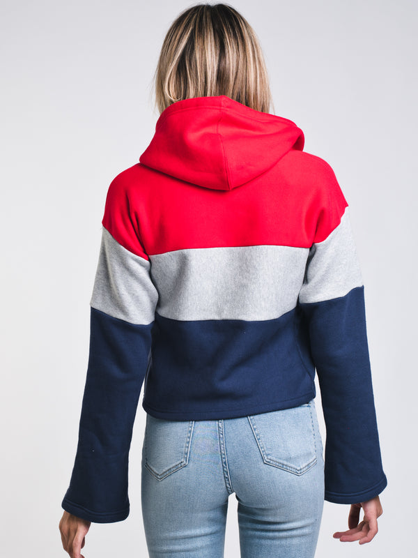 WOMENS C/B CROP PULLOVER HOODIE- RED/NAVY