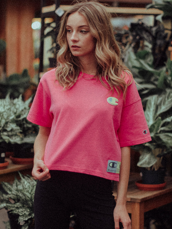 WOMENS CROP HERITAGE SHORT SLEEVE TEE - PINK