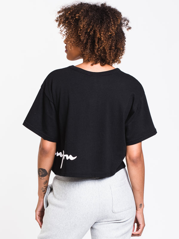 WOMENS WRAP AROUND CROP SHORT SLEEVE TEE - BLK