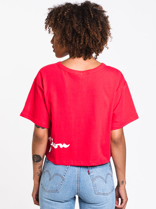 WOMENS WRAP AROUND CROP SHORT SLEEVE TEE - SCA