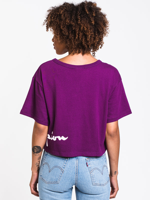 WOMENS WRAP AROUND CROP SHORT SLEEVE TEE - PUR