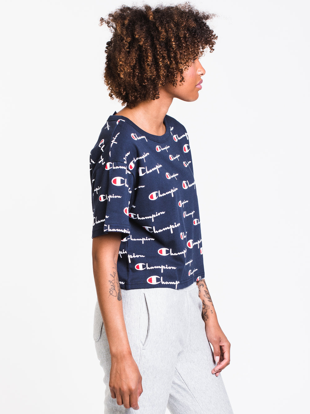 WOMENS HERITAGE ALL OVER PRINT CROP TEE - NAVY