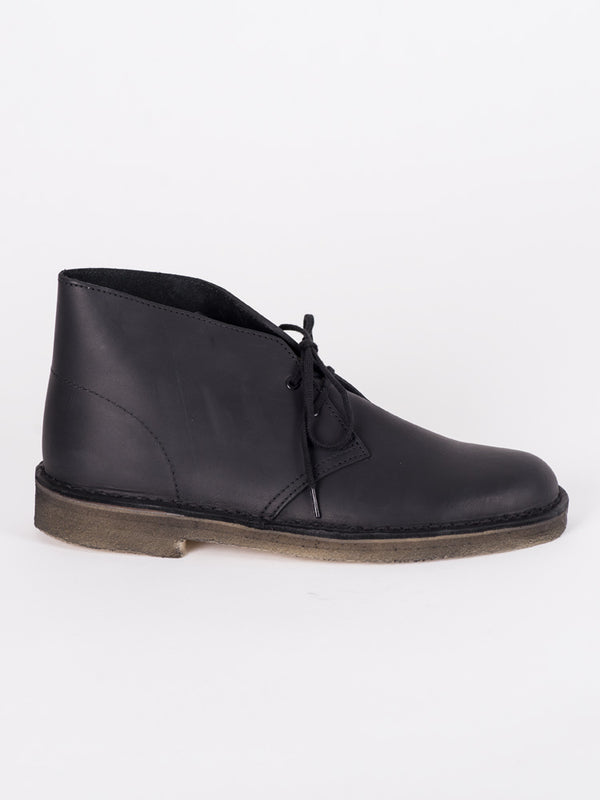 MENS DESERT BOOT - BLACK LEATHER - CLEARANCE