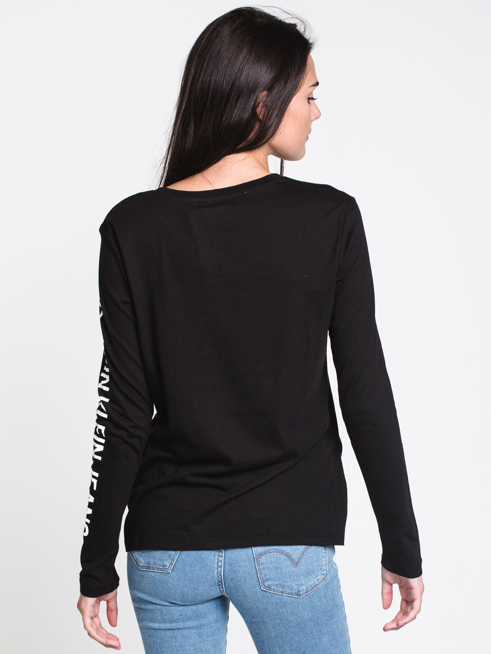 WOMENS VARSITY HER LONG SLEEVE TEE - BLACK
