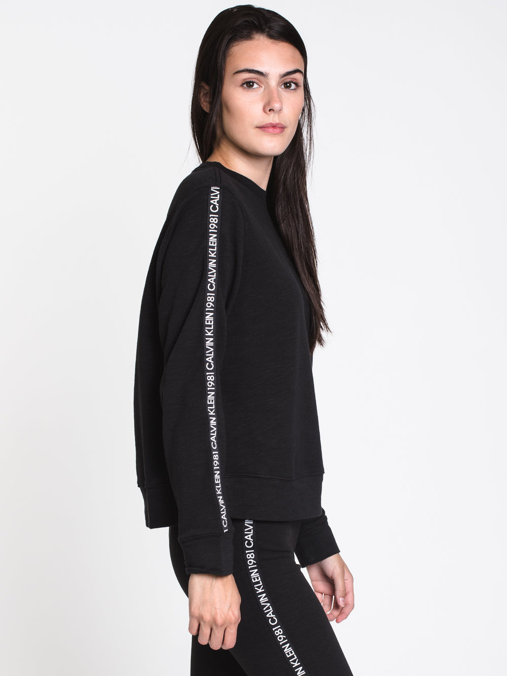 WOMENS 1981 BOLD TAPED CREW - BLACK