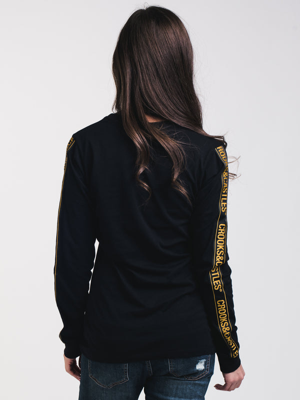 WOMENS LOGO CROOKS LONG SLEEVE T-SHIRTEE - BLK/GLD