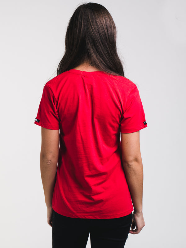 WOMENS BLOCK UP SHORT SLEEVE T-SHIRT - RED