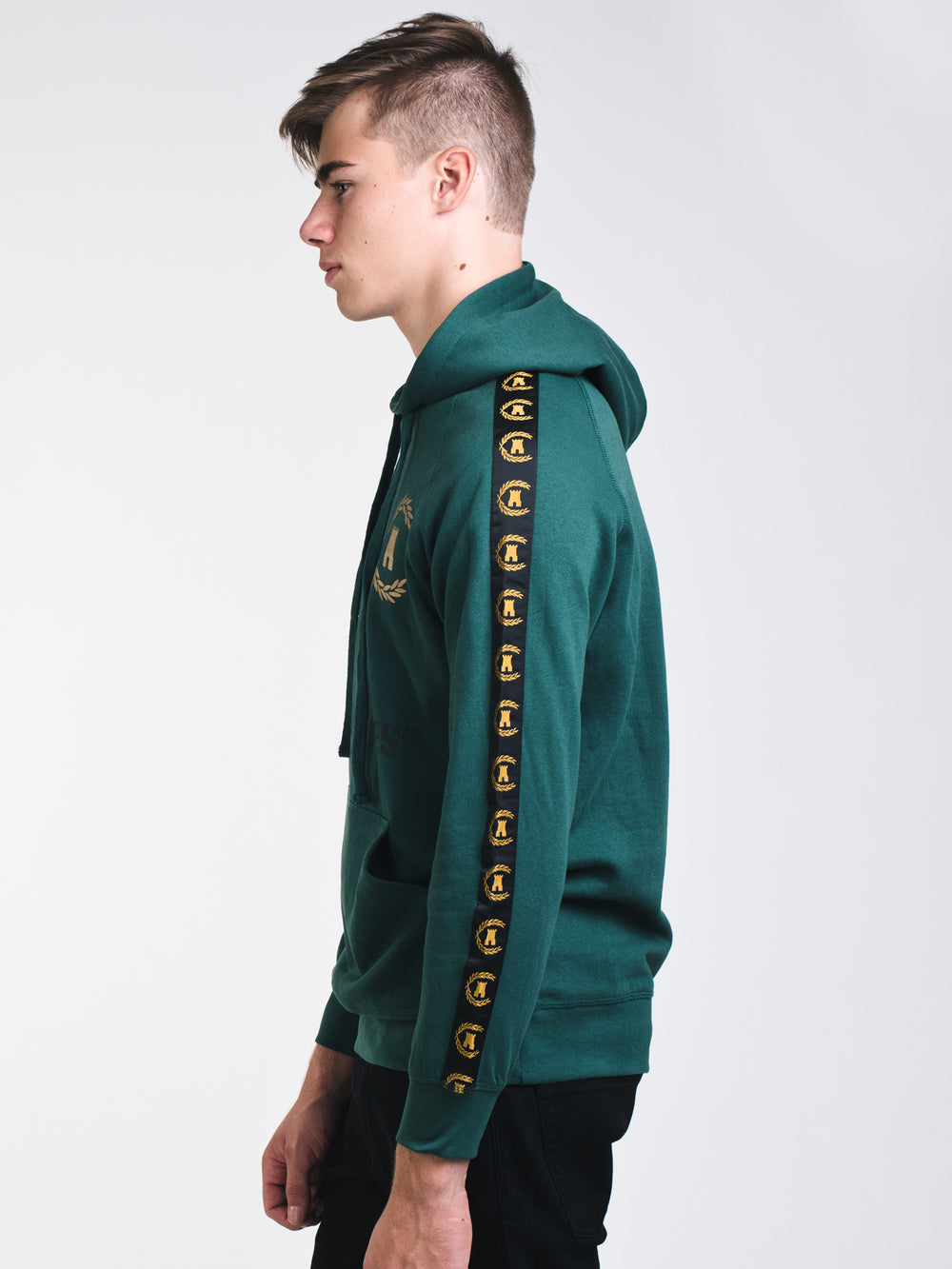 MENS CORONA TAPED PULLOVER HOODIE- GREEN
