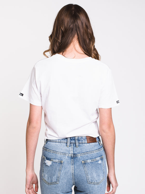 WOMENS IRIDESCENT C&C CROP TEE - WHT