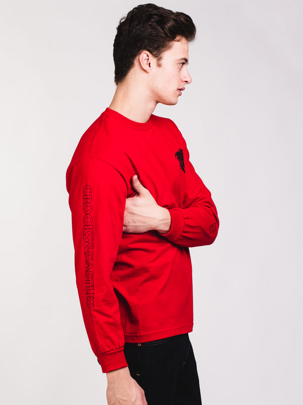 MENS MEDUSA FACE LONG SLEEVE T - RED