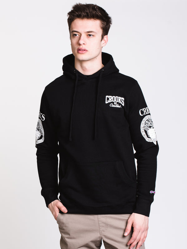 MENS CARDINAL EMBROIDERED Pullover HOOD - BLACK