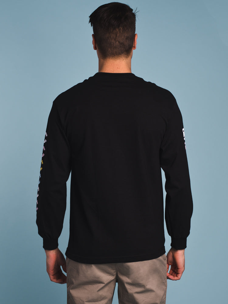 MENS MULTI LONG SLEEVE T-SHIRT - BLACK